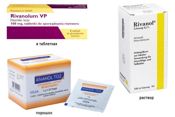 Формы выпуска Риванола: таблетки, порошок, раствор