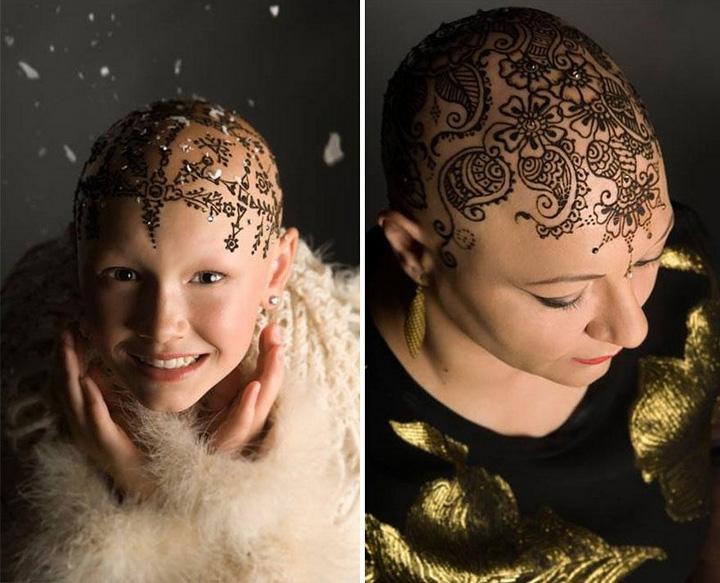 Фото: рисунок хной на голове