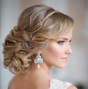 Фото свадебных причесок на длинный волос с челкой 96